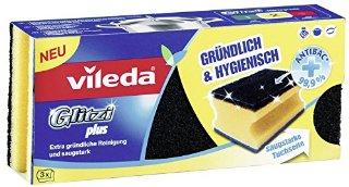 Vileda Glitzi Crystal Spugna da Cucina, Confezione da 2 Pezzi + 1 Spugna Glitzi Plus