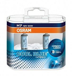 OSRAM COOL BLUE INTENSE H7 Lampada alogena per proiettori  64210CBI-HCB 4200K e 20% di luce in più - confezione Duobox