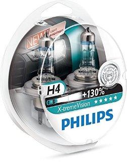 Philips 12342XV+S2 X-treme Vision Lampada alogena H4, 12V 60/55W, 130% di luce in più, 40% più bianca