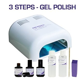 Kit MeaNail - FORNETTO UV Lampada per unghie manicure permanente o semi permanente - Set Manicure composto di UV gel 15ml, nail cleaner, base, solvente speciale, blocchetto lima, etc - per MANICURE fai da te