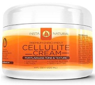 InstaNatural Crema anticellulite con caffeina e retinolo - lozione rassodante, elimina la pelle a buccia d'arancia da gambe, braccia, pancia, glutei e altro - non necessita di essere avvolta - con olio di jojoba e vitamina E - 120 ML