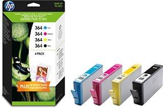 HP 364 Confezione da 4 Cartucce Originali di Inchiostro, 5 Fogli di Carta HP Advanced Photo Paper 13x18, Nero/Ciano/Magenta/Giallo