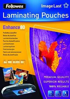 Fellowes Confezione Pouches di Plastificazione, 80 Micron, A4, 100 Pezzi