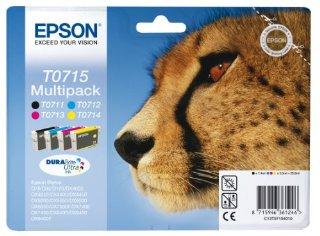 Epson RS T0715 DuraBrite Ultra Ink Cartucce, Confezione da 4 Colori