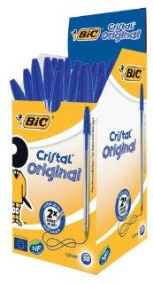 Bic 8373609 Penna a Sfera Cristal, Medium Classic, 1 mm, Confezione da 50, Cancelleria e Prodotti per Ufficio, Blu