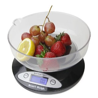 Smart Weigh CSB2KG Cuisine Digital Kitchen Scale with Removable Bowl 2000g x 0.1g - Black