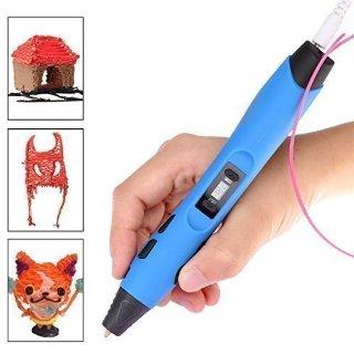 ccbetter 3D Pen, Penna Intelligent 3D, Penna-stampante 3D, con supporto di sicurezza, 2 confezioni di filamenti gratuiti, colore blu e nero (Versione III)