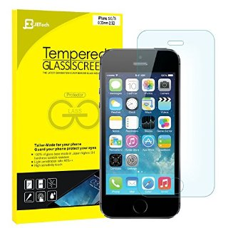 JETech iPhone SE 5s 5 Pellicola Protettiva ultra resistente in vetro temperato Screen Protector Film per Apple iPhone SE/5/5S/5C