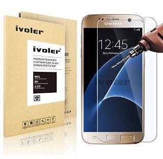 Samsung Galaxy S7 Pellicola Protettiva, iVoler® Pellicola Protettiva in vetro temperato per Samsung Galaxy S7- Vetro con Durezza 9H, Spessore di 0,2 mm,Bordi Arrotondati da 2,5D-Shockproof, Trasparenza ad alta definizione, Facile da installare- Garanzia a vita