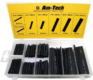 Am-Tech - Guaine termorestringenti per cavi assortite, 127 pezzi