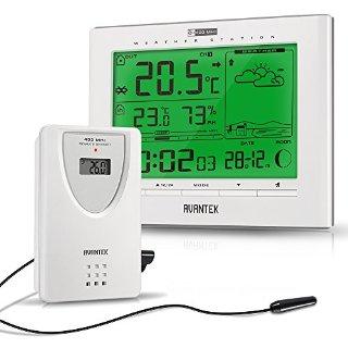 AVANTEK Stazione Meteo Meteorologiche senza fili Wireless con Sensore & Orologio Umidità Temperatura (AG-21)
