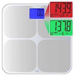 Smart Weigh SMS500 Bilancia da Bagno digitale, ad alta precisione, Doppio Colore, Rilevazione Cambiamento di Peso e Autoriconoscimento intelligente