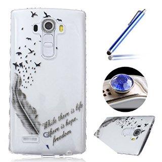 Etsue Clear Case per LG G4,cassa molle del gel per LG G4,Case Cover Trasparente gomma flessibile Uccello sveglio di disegno piuma per l'LG G4 +Blu Stylus Pen e scintillio di Bling Diamond Dust Plug colora casuale-piuma