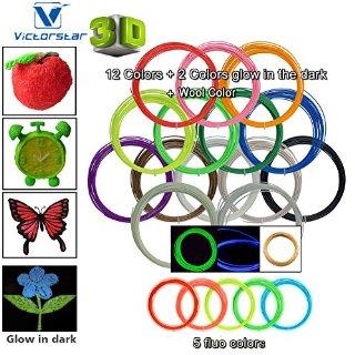 Victorstar @ Pen 3D Filamento Ricariche 20 Colori 656 Piedi Lineari (200 metri) / ABS 1,75 Millimetri 12 Colori Generali + 2 Bagliore nel Buio + 1 Legno di Colore + 5 Fluorescenti / 32,8 Piedi (10 metri) ogni Colore