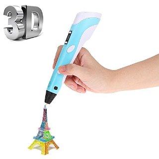 Foxpic 3D Pen Penna Intelligente 3D, Penna-stampante 3D, Penna Tridimensionale con Supporto di Scurezza, con Filamenti e Display di Temperatura