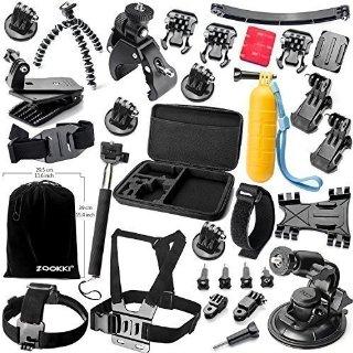 Zookki Essenziale Kit di Accessori Fascio per GoPro Hero 4 3+ 3 2 1 Black Silver Kit di Accessorio per GoPro 4 3+ 3 2 1 Nero Argento SJ4000 SJ5000 SJ6000, Fotocamera Accessorio Set per GoPro Hero4 Hero3+ Hero3 Hero2