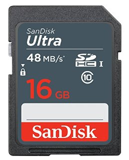 Scheda di Memoria SanDisk Ultra SDHC da 16 GB, fino a 48 MB/sec, Classe 10