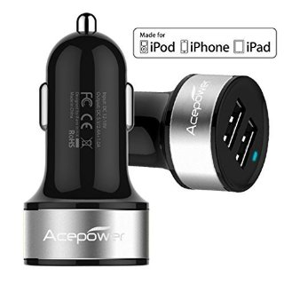 [Certificato da Apple] ACEPower® Doppio USB Caricabatterie da auto (17W/3.4A - 2 Porte) per iPad Air, iPad, iPad Mini, iPhone 6, 6 Plus, 5S, 5, 4S; Samsung Galaxy phone, Galaxy Tab; LG G3; HTC ONE; Motorola, Speaker Bluetooth, GPS, Batterie esterne e altri dispositivi USB (Black w. Silver Band)