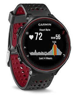 Garmin Forerunner 235 GPS Sportwatch con Censore Cardio al Polso e Funzioni Smart, Nero/Rosso