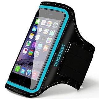 Ubegood Antiscivolo Fascia Braccio Sports Armband per Jogging con Velcro Strap Regolabile & Pocket Chiave Anche Adatta iPhone 6S/6/5S/5/5C, Galaxy S6 edge/S6/S5/S4 (blu)