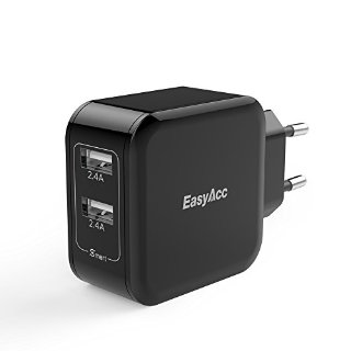 EasyAcc 24W 5V 4.8A 2 Port USB Charger Dual Power adattatore USB portatile per iPhone 6 6Plus iPad Samsung Galaxy S6 Bordo S5 e altri smart phone, tablet - nero