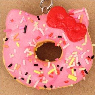 Ciondolo Squishy Hello Kitty ciambella rosa per cellulare o borsa
