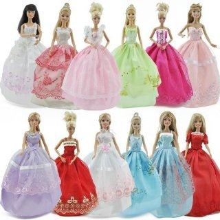 Gosear Confezione da 5 abiti e 10 paia di scarpe per bambole Barbie, realizzati a mano