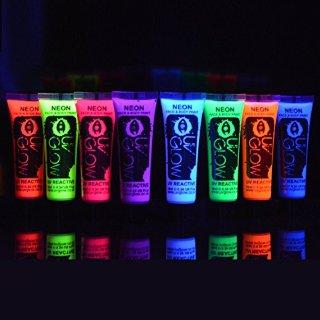 8x UV Glow 10ml Vernice Fluorescente Pelle Viso Corpo Colore UV - 8 Colori Diversi - Neon Glow Fluo