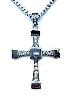HS86® - Collana con ciondolo a croce, in acciaio INOX, motivo: Fast and Furious Dominic Toretto Vin Diesel