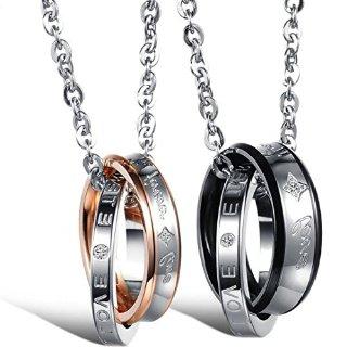 Flongo coppia collana amante regalo per donna uomo anelli interblocco mosaico strass pendenti scrivono