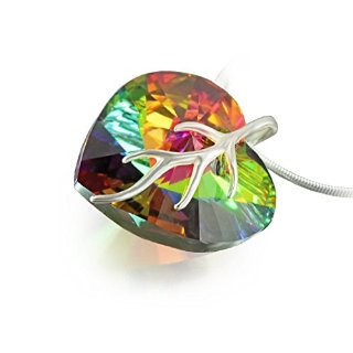 LillyMarie® - Collana da donna, in argento, con ciondolo a cuore Swarovski Elements originale (18 mm), in apposito astuccio, colore: Multicolore