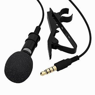Tonor Microfono Clip a condensatore Omnidirezionale Mini Mic con Clip Rimovibile per il Computer Portatile, Android, Iphone, Ipad Jack 3,5Mm Nero