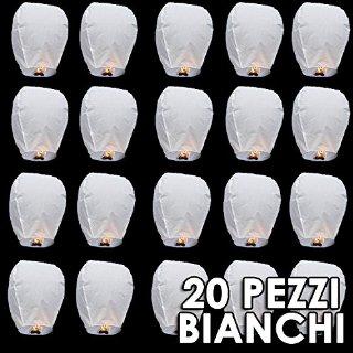 20 PZ SKY LANTERN LANTERNA CINESE CINESI VOLANTE MONGOLFIERA X MATRIMONIO BIANCHI