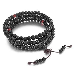 MunkiMix 8mm Legno Bracciale Braccialetto Collana Tibetano Nero Sandalo Perline Preghiera Buddha Preghiera di Mala Uomo,Donna