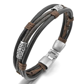 Recensioni dei clienti per MunkiMix cuoio della lega lega metallica vera pelle bracciali cinghia corda d'argento nero Brown intrecciati uomini, donne | tripparia.it
