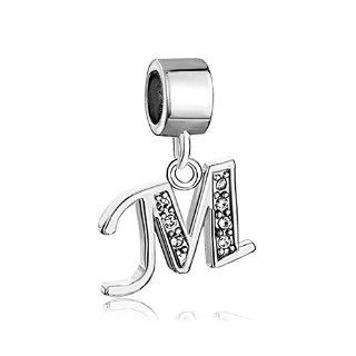 Pugster - Ciondolo con lettera dell'alfabeto A-Z, lettera con zirconi, per braccialetti Pandora, Chamilia & Troll