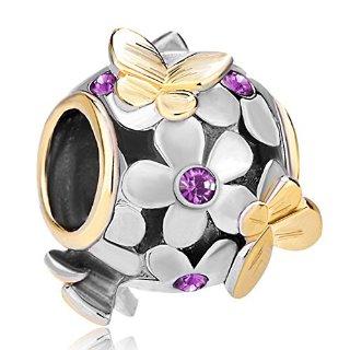 Pugster - Ciondolo con fiori in cristallo placcati oro e farfalle dorate, compatibile con braccialetti Pandora, Metallo, colore: viola, cod. MH_DPC_FA323_X02