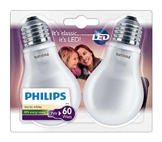 Philips Confezione Lampadine LED, Attacco E27, 7W-60W, Vetro, Bianco, 2 Pezzi