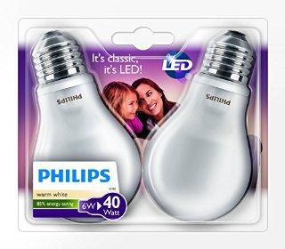 Philips, Lampadina LED, attacco E27, 2 pz., 6 Watt, classe di efficienza energetica A+