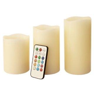 Mooncandles - Tre candele senza fiamma, profumate alla vaniglia, con telecomando e timer, a colore cangiante, dimensioni disponibili: 10, 12 e 15 cm