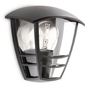 Philips Creek Lampada da Parete da Esterno, Lanterna Luce Diffusa, Alluminio, Nero