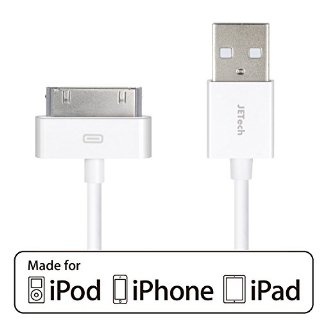 JETech APPLE CERTIFIED 30-Pin USB Sync e Cavo di Caricamento per iPhone 4/4S, iPhone 3G/3GS, iPad, iPod (Bianco)