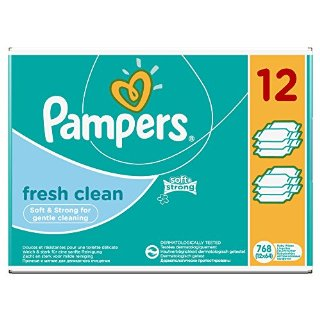 Pampers, Salviette umide Fresh Clean, confezione mensile doppia, 768 pz. (12 confezioni da 64 pz.)