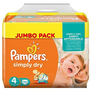 Pampers, Pannolini Simply Dry, misura 4 (7 - 18 kg), confezione maxi, 2 confezioni (2 x 74 pz.)