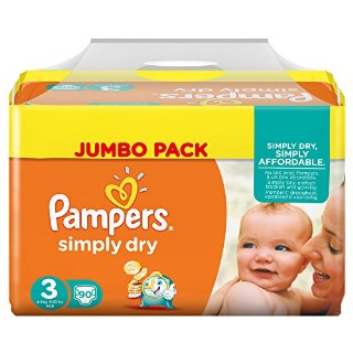 Pampers, Pannolini Simply Dry, misura 3 (4 - 9 kg), confezione maxi, 2 confezioni (2 x 90 pz.)