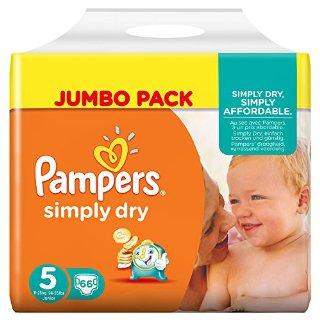 Pampers, Pannolini Simply Dry, misura 5 (11 - 25 kg), confezione maxi, 2 confezioni (2 x 66 pz.)