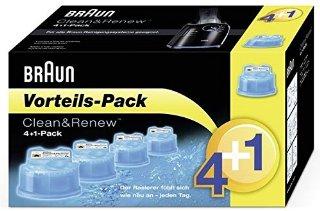 Braun CCR 4 + 1 (Cartucce di Ricambio Clean & Renew 4+1) per 370CC, 390CC, 570CC, 590CC, 760CC, 790CC, 9050CC, 9090CC