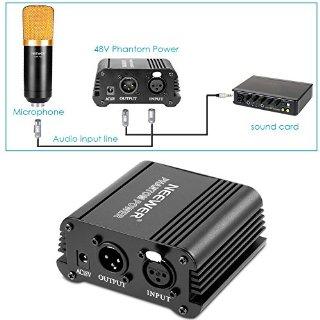 Neewer® 1-Canale 48V Phantom Alimentatore di colore Nero con Adattatore e Cavo Audio XLR per qualsiasi Microfono a Condensatore per Musica e studio di Registrazione