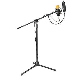 Neewer Microfono a Condensatore NW-700 & Treppiede Regolaibile Pieghevole NW-107 con Asta di Microfono Kit per Studio Professionale Telecomunicazione Registrazione