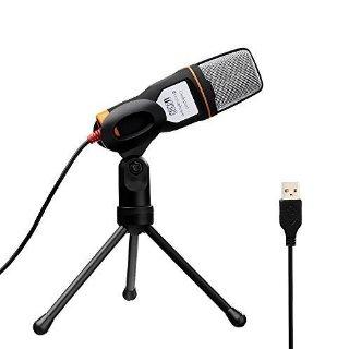Tonor USB Microfono Audio Professionale a condensatore con supporto per Skype PC Mac Laptop Chiacchierando Canto Karaoke Laptop PC Nero
